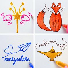 Art Drawings Beautiful, Art Drawings For Kids, Pencil Art Drawings, Easy Drawings, Gel Pen Art, Gel Pens, Paper Crafts Origami, Origami Easy, Pen Doodles