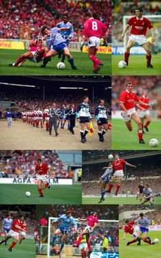 PIcture Collage of the Day:  (click for full size)  April 12 1992, Nottingham Forest v Manchester United, League Cup Final, Wembley.  Roy Keane lined up in midfield for Forest against his future team.   Manchester United won the final 1-0 with a goal from Brian McClair.   This was the legendary Brian Clough's last major domestic cup final as a football manager. Nottingham Forest Football Club, Brian Clough, Roy Keane, Nostalgic Images, Manchester United, Lineup, Scrapbooks, Goal, Collage