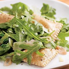 Dress up frozen ravioli into an easy, healthy dinner with this recipe for Ravioli with Arugula & Pecorino. #DinnerTonight