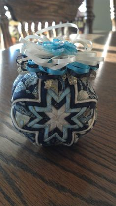 Blue and cream quilted Christmas ornament