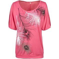 Slit Sleeve Cold Shoulder Feather Print Women Casual Summer T Shirt Girl 2017 Tee Tshirt Loose Top T-Shirt plus size XXL 3XL