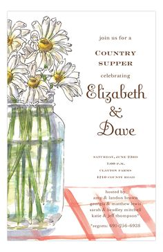 Are you planning a rehearsal dinner? Do you gravitate towards the shabby chic trend and country life? Then, consider the variety of invitations on Polka Dot's online invitation store. The website has invitations for all your wedding needs. This creation by Inviting Company Digital Designs will charm your family and friends. The Country Table Invitation a charming drawing filled in with watercolor. It depicts a mason jar filled with fresh-picked daisies.