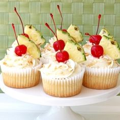 Perfect for Summer is this delicious Pina Colada Cupcake Recipe