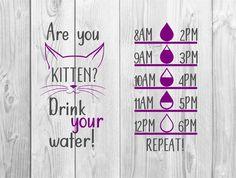 Are you kitten water bottle water tracker,water tracker svg,cricut water tracker file,water bottle decal file Pill Bottles, Water Bottles, Water Bottle Tracker, Water Reminder, Water Tumbler, Bow Template, Cricut Craft Room, Water Bottle Design, Little Bow