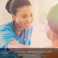 Caring for others can help change lives. :)