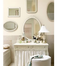 decor, vintage mirrors, vaniti, idea, shabbi chic