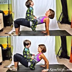 Tricep Dips - Modified with child KaremFitLife ‹ @Brook Altman Blog incentive? Don't drop your child! #freeworkout #workout #toddlers #funkidactivities