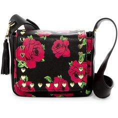Betsey Johnson Heart Stud Faux Leather Crossbody ($30) ❤ liked on Polyvore featuring bags, handbags, shoulder bags, floral, crossbody purses, cross-body handbag, crossbody shoulder bags, studded handbags and studded purse