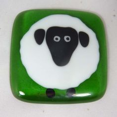 Fused Glass Magnet with Big Fat Sheep by SugarLipsGlass on Etsy, $10.50