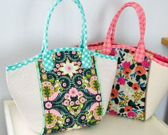 Cute, colorful basket tote pattern.