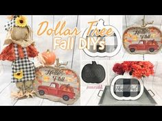 Today's Dollar Tree DIY projects I am sharing more Farmhouse Fall decor with you. I asked you how I should change my pumpkin scarecrow and you guys pulled th. Dollar Tree Haul, Dollar Tree Decor, Dollar Tree Crafts, Dollar Tree Store, Dollar Stores, Hobby Lobby Flowers, Waverly Chalk Paint, Dollar Tree Pumpkins, Fall Crafts