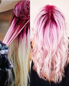 """ During and after shots by @jaywesleyolson Jay this pink color confection is absolutely gorgeous #hotonbeauty #hothairvids"""