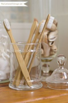 Wood Wooden Toothbrushes | Cottage Bathroom | The Lettered Cottage