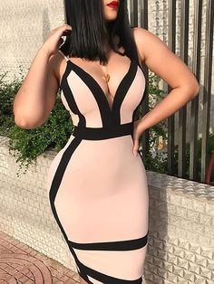 Cheap Dresses, Buy Directly from China Suppliers:Women Contrast Color Spaghetti Strap Bodycon Open Back Party Dress Sexy Club Sheath Sleeveless V Neck Summer Dress Cheap Dresses, Sexy Dresses, Fashion Dresses, Summer Dresses, Bodycon Fashion, Look Kim Kardashian, Stitching Dresses, Sexy Party Dress, V Neck Dress