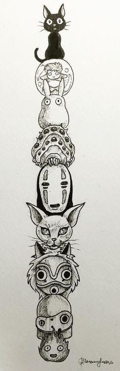 Studio Ghibli totem tattoo                                                                                                                                                                                 Plus