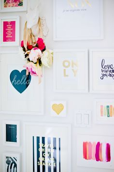 a gallery wall full of inspirational quotes // love this idea to stay motivated