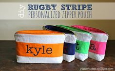 """""""R"""" is for Rugby Stripe Pouch - Jaime Costiglio"""