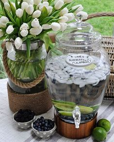 is starting off the by serving up some refreshing lime & blueberry infused water in one of our favorite beverage dispensers. Bar Drinks, Yummy Drinks, Beverages, Dear Lillie, Drink Dispenser, Outdoor Photos, Traditional Furniture, Holiday Drinks, Al Fresco Dining