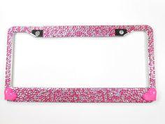 Hot Pink Crystal Rhinestone Screw Black Caps for Bling License Plate Frame