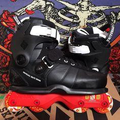 """Custom USD Carbon XV Boots with Kaltik Wardwell Frames & Eulogy Bailey Wheels. 1-800-772-2502, M-F, 9am-5pm pst or rollerwarehouse.com"""