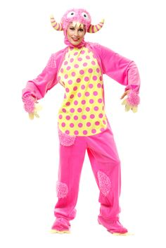 Fun Pink Mini Monster Costume - Calgary, Alberta. You'll be a cute scary in this awesome Monster costume this Halloween! Perfect for kids parties, teachers or a good time! Check out this awesomely cute and fun Monster costume! The Monster costume is a one piece fuzzy pink jumpsuit that ties around the neck. The chest is yellow with a pink/orange polka dots. There is patches of curly fuzzy fur underneath the chest and on the legs and arms.