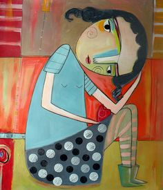 Magaly Ohika-The Itsy Bitsy Spill, paintings Kunstjournal Inspiration, Art Journal Inspiration, Art And Illustration, Figurative Kunst, Cardboard Sculpture, Donia, Naive Art, Aboriginal Art, Outsider Art