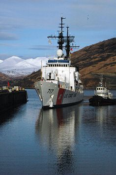 The U.S. Coast Guard cutter Mellon prepares to moor at the pier in Kodiak, Alaska.jpg