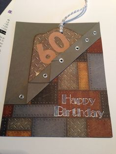 Masculine 60th birthday card I made for my cousin. This uses one piece of paper for the base. This was adapted from original design by Sandra Graham Smith.