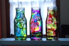 """Upcycle empty starbucks glass """"jars"""" into vases. i like these just to make lovely colors in the garden in the light. Starbucks Bottle Crafts, Starbucks Bottles, Diy Arts And Crafts, Crafts For Kids, Diy Crafts, Festive Crafts, Bottles And Jars, Glass Bottles, Alcohol Ink Crafts"""