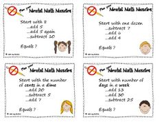 Here's a set of 16 cards for mental math puzzles. Students follow step by step clues and use mental math to get to the final answer.