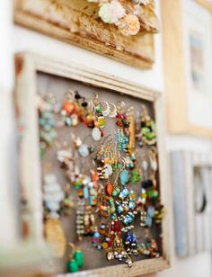 Turn an old frame into a pinboard to organise jewellery. Just add fine mesh (or stiff flyscreen) to the back and pull tight. Great for hanging earrings without need for further hooks or holders.