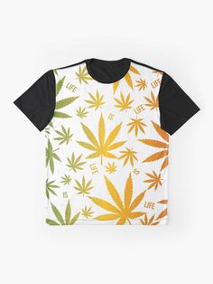 'Rasta Colour Gradient Weed is Life ' Graphic T-Shirt by EverythingJA Rasta Colors, Gradient Color, Jamaica, Vivid Colors, Female Models, Weed, Clothing, Prints, How To Make
