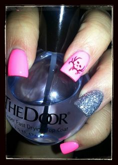 Hot pink and glitter bone collector acrylic nails! By Crystal!