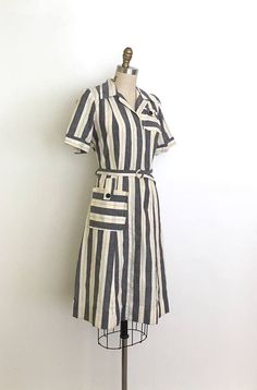 vintage 1940s dress 40s striped day dress