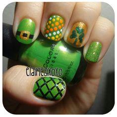 elaineqxoxo St. Patrick's Day #nail #nails #nailart
