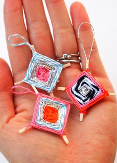 Make Tiny God's Eye Woven Pendants - Such a cute craft for older kids!