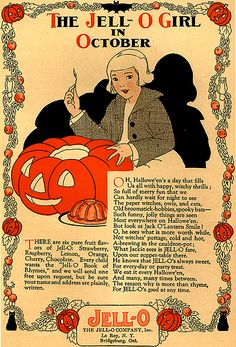 A lovely c. 1910s - 1920s Halloween themed ad for Jell-O. #vintage #antique #Jello #Halloween