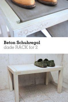 Das #dade RACK for 2 ist ein #Schuhgestell aus #Beton. Die Profile Sind aus nur 3,5cm starkem Beton gegossen und können übereinander gestapelt werden. Entryway Bench, Design, Furniture, Home Decor, Stools, Entry Bench, Foyer Bench, Interior Design, Design Comics