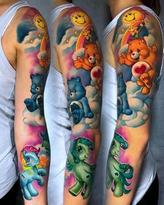 In 1981 the Care Bears were created as an illustration for greeting cards before being produced as plush toys in Below, we are going to mention care bear tattoo ideas and designs. Care Bear Tattoos, Teddy Bear Tattoos, Tattoo Care, 1 Tattoo, Face Tattoos, Badass Tattoos, Cool Tattoos, Samoan Tattoo, Polynesian Tattoos