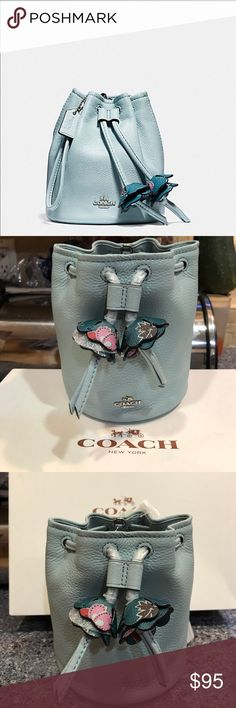 "Coach Petal Wristlet ❤️💐❤️💐 Coach Petal Wristlet in Pebble Leather in Aqua Condition: This  item is new with tags and shows no signs of wear. Product details: Coach Pebbled Leather Petal Wristlet in Aqua with Silver Details, Drawstring Closure, Floral Fabric Lining. Wrist strap attached. 5.5""L x 6.25""H x 5""W Coach Bags Clutches & Wristlets"