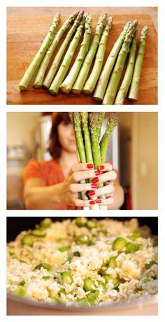 Se tem um prato bacana para receber os amigos em casa é esse tal Risoto de Aspargos! Fica uma delícia, é fácil de fazer, e todo mundo gosta :)  Misturou arroz + aspargos + tomatinho cereja é sucesso na certa!