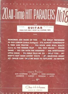20 All Time Hit Paraders #18 Songbook Guitar 1950s Chas H Hansen