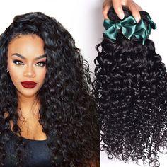 브라질 처녀 머리 물 웨이브 4 번들 브라질 곱슬 처녀 머리 인간의 머리 직조 처리되지 않은 브라질 머리 직조 번들