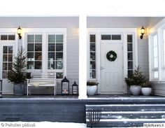 Christmas trees on the porch Christmas Porch, Outdoor Living, Outdoor Decor, French Country Decorating, Beautiful Gardens, Bungalow, Outdoor Gardens, Terrace, Villa