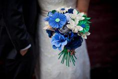 Paper bouquet. Cindy & Sam's geeky bibliophile wedding | Offbeat Bride
