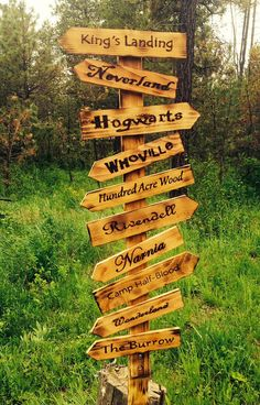 Whimsical directional sign post signs) These whimsical directional signs can be ordered as pictured or customized to include your favorite fictional or non fictional places. The Whimsical directional sign post signs) Wood Projects, Woodworking Projects, Garden Projects, Woodworking Plans, Woodworking Logo, Woodworking Furniture, Hundred Acre Woods, King's Landing, Directional Signs
