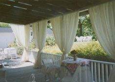 Draping can enhance your back porch for a romantic look for any party.