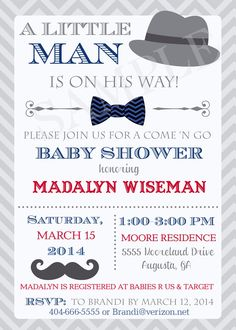 Little Man Hat Mustache Bowtie Baby Shower Invitation  - Printable - Any colors by PartyPopInvites on Etsy https://www.etsy.com/listing/180322177/little-man-hat-mustache-bowtie-baby