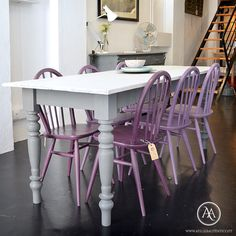 Rustic dining table and painted Ercol Windsor chairs