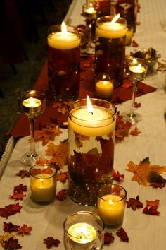 Brown Gold Ivory Orange Centerpieces Fall Indoor Reception Place Settings Wedding Reception Photos & Pictures - WeddingWire.com